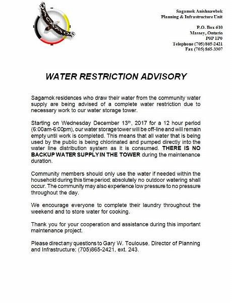 Water Restriction Advisory  December 8, 2017