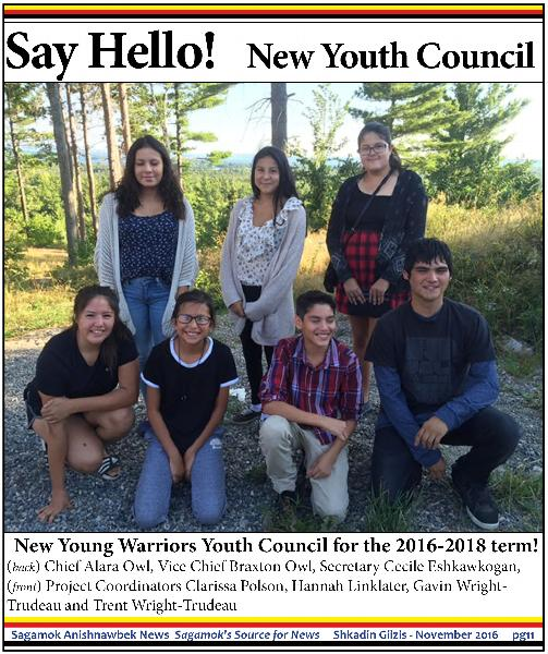 Sagamok Young Warrior's Youth Council 2016-2018