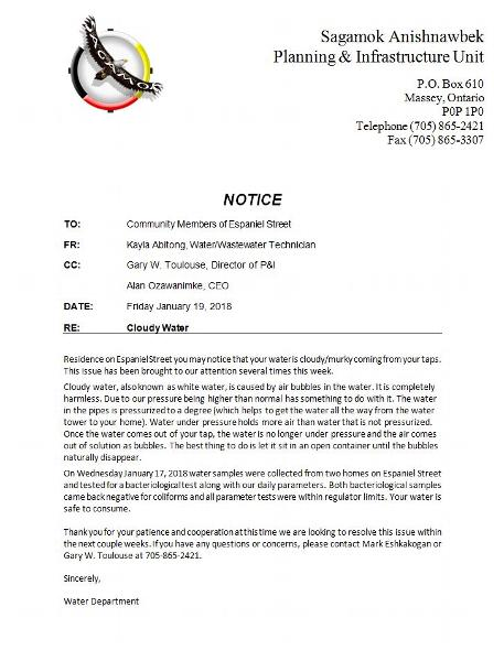 Notice to Community RE Cloudy Water 19January2018